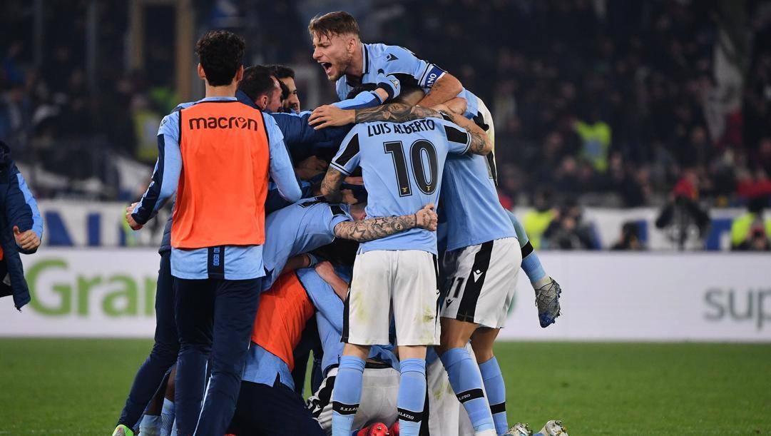 Festa Lazio dopo il gol di Milinkovic Savic