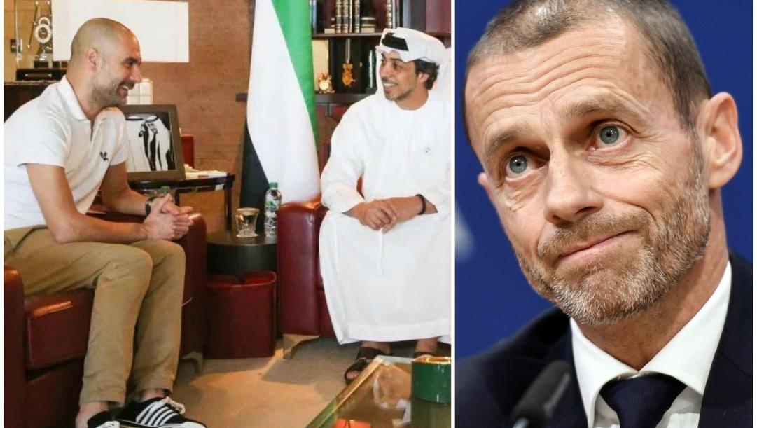 Il tecnico del City Pep Guardiola con Mansour bin Zayed. E a destra, il presidente dell'Uefa Ceferin