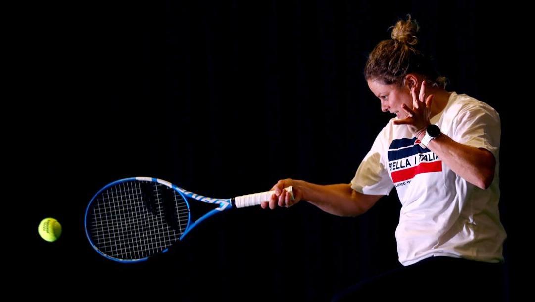 Kim Clijsters in allenamento. Getty