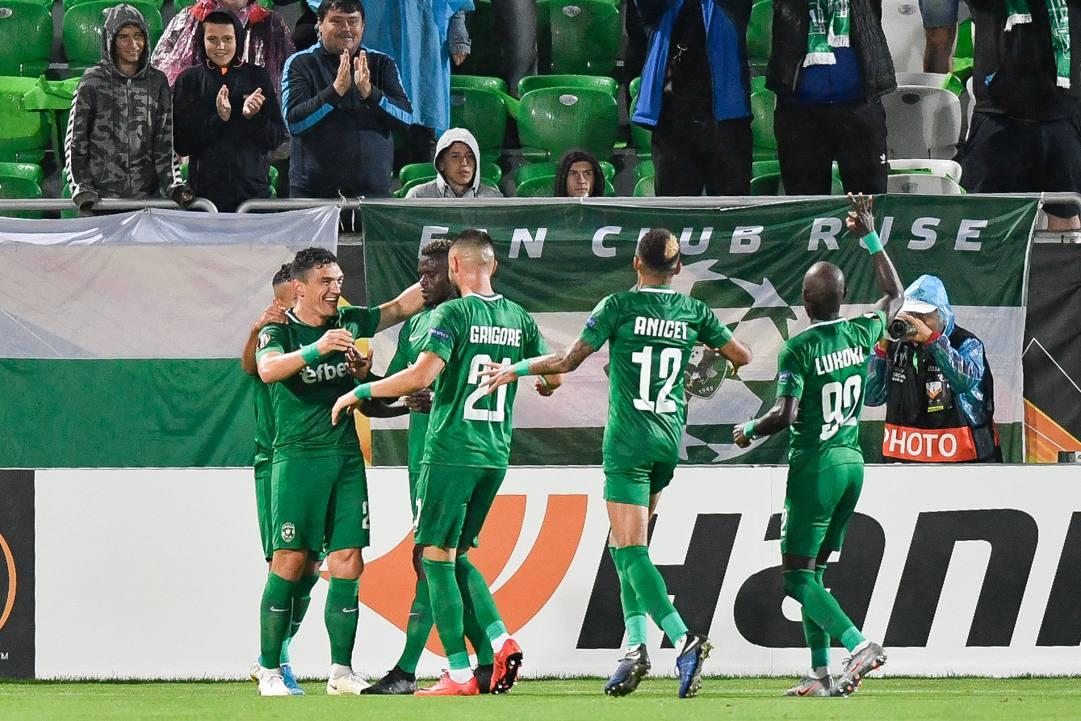 Il Ludogorets esulta dopo un gol al CSKA Mosca. AFP