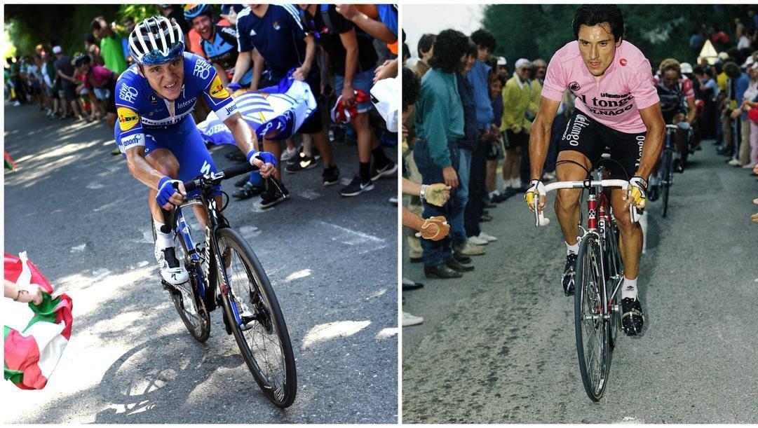 A sinistra, Remco Evenepoel, a destra Beppe Saronni.