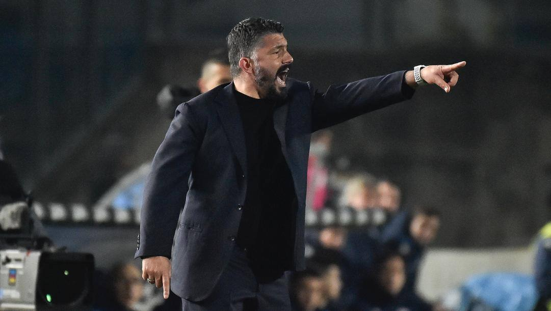 Gattuso durante il match di Brescia. Lapresse
