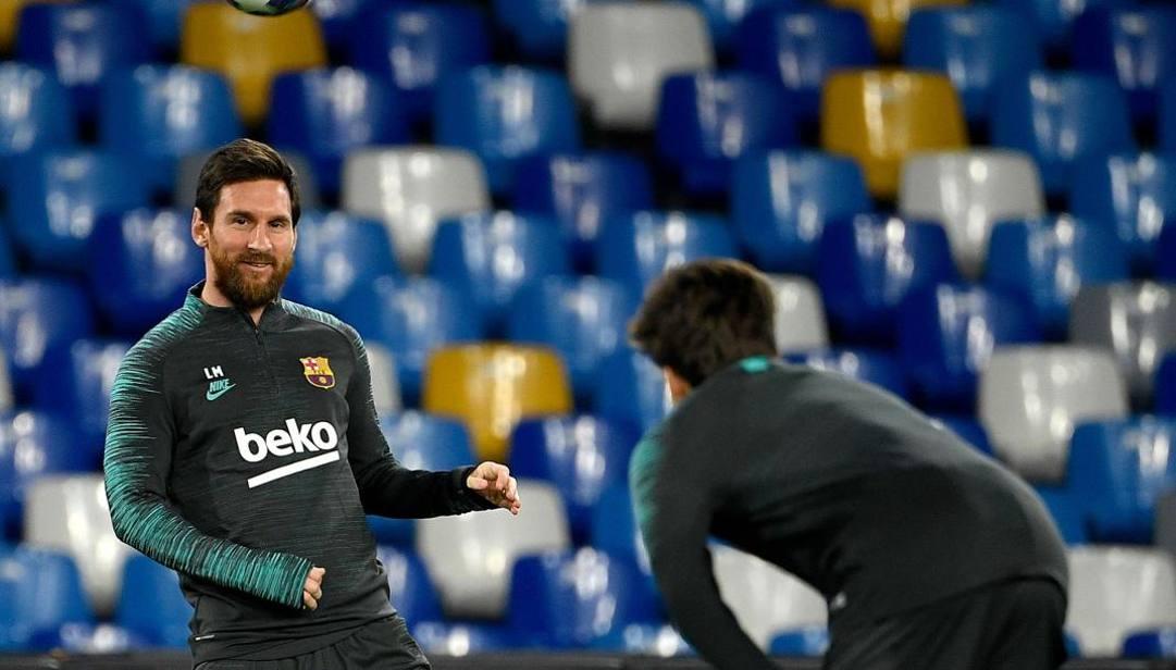 Leo Messi durante la rifinitura. Afp