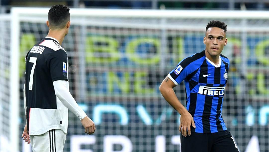 Cristiano Ronaldo e Lautaro Martinez, protagonisti annunciati del prossimo Juve-Inter. Lapresse