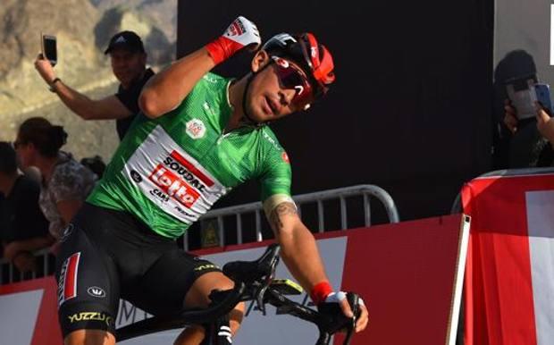 Caleb Ewan, australiano di 25 anni, in trionfo sulla diga di Hatta per il secondo anno consecutivo. Bettini