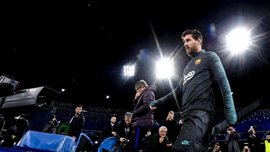 Lionel Messi, 32 anni, al San Paolo. Ansa