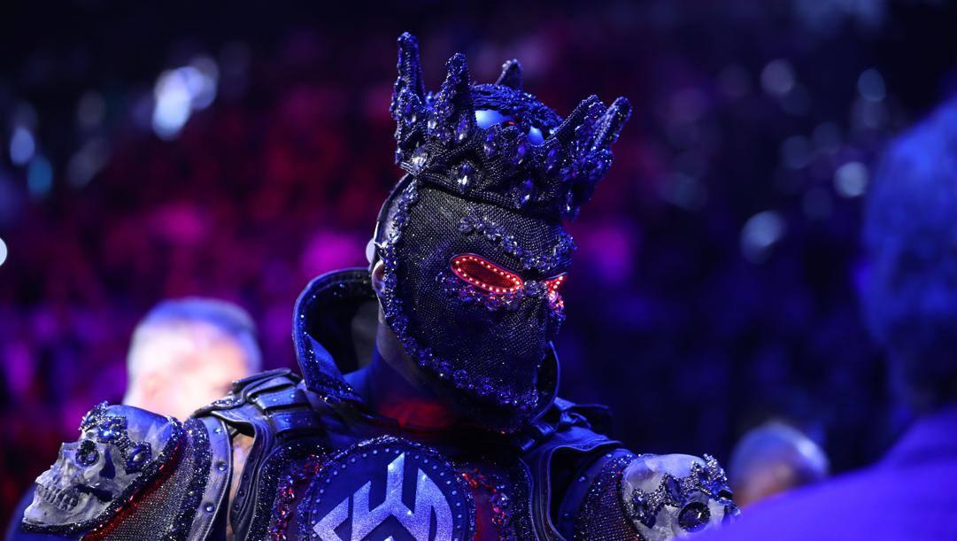 La maschera indossata da Deontay Wilder all'ingresso sul ring per il match con Fury. Afp