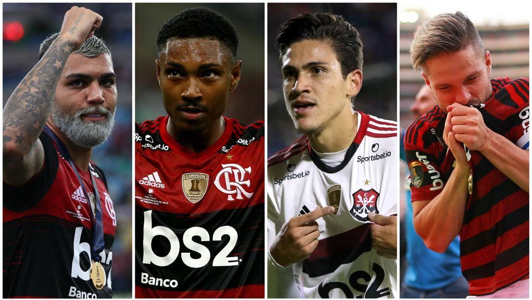 Gabigol, Gerson, Pedro e Diego con il Flamengo.