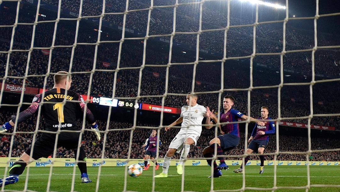 Il gol di Lucas Vazquez nel Clasico di Copa del Re. Getty
