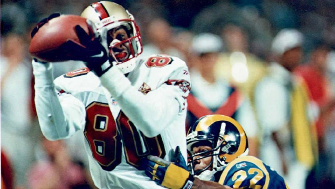 Jerry Rice, ricevitore dei San Francisco 49ers dall'85 al 2000. Afp