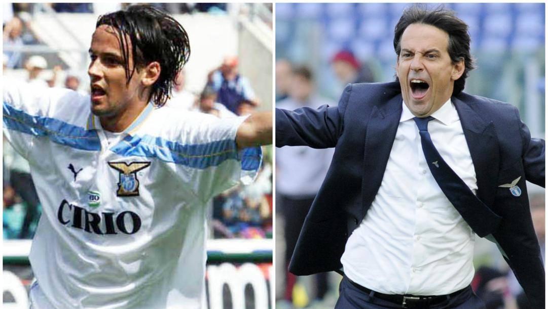 A sinistra, Simone Inzaghi esulta il 14 maggio del 2000 dopo aver segnato il primo gol alla Reggina, finirà 3-0, con la Juve sconfitta a Perugia: è scudetto! A destra, il tecnico della Lazio oggi.
