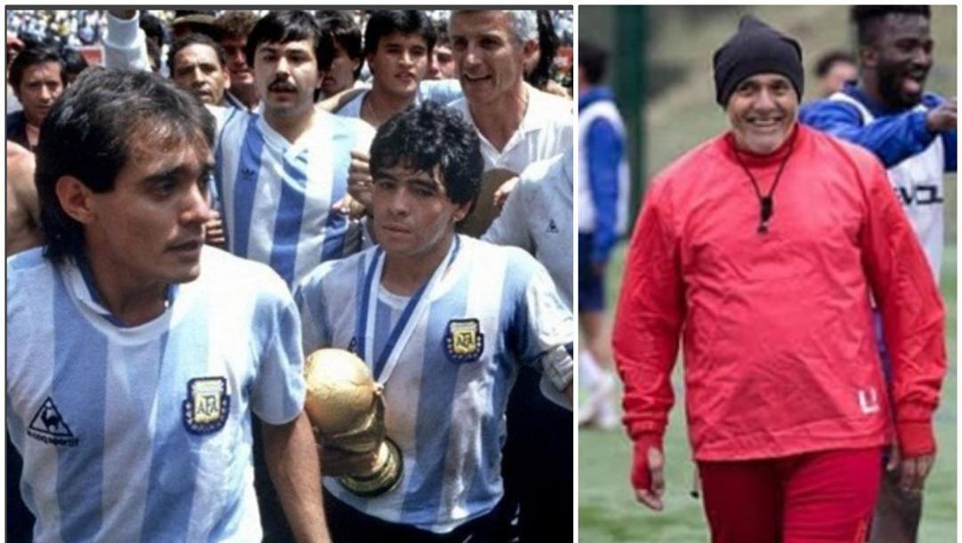 A sinistra, Pasculli con Maradona dopo aver vinto il Mondiale 1986. A destra, oggi, da allenatore del Bangor City