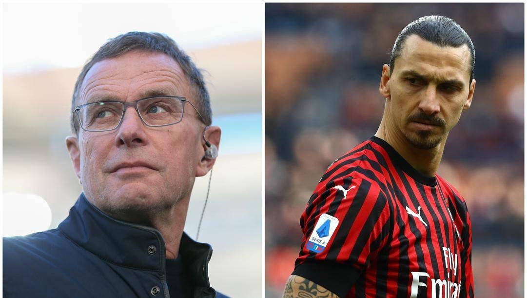 Ralf Rangnick e Zlatan Ibrahimovic. Getty