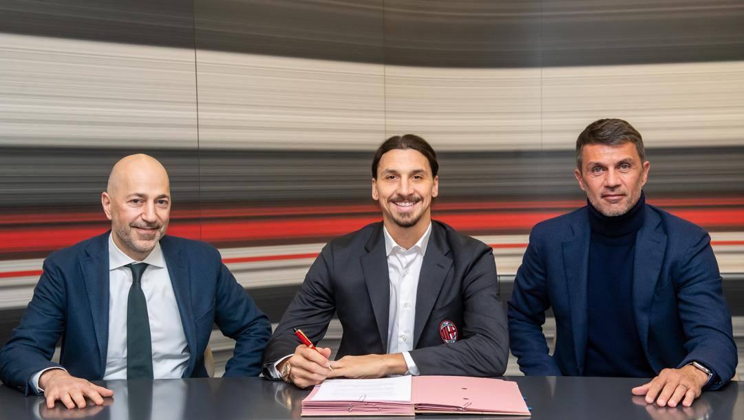 Ivan Gazidis, Zlatan Ibrahimovic e Paolo Maldini. Lapresse