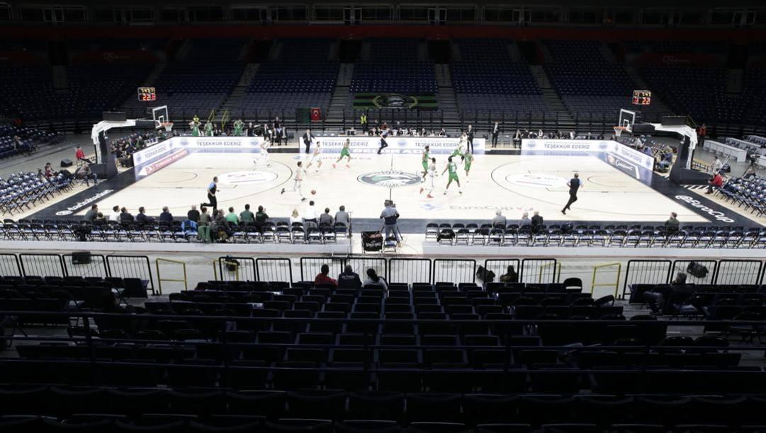 La Stark Arena di Belgrado senza pubblico. Epa