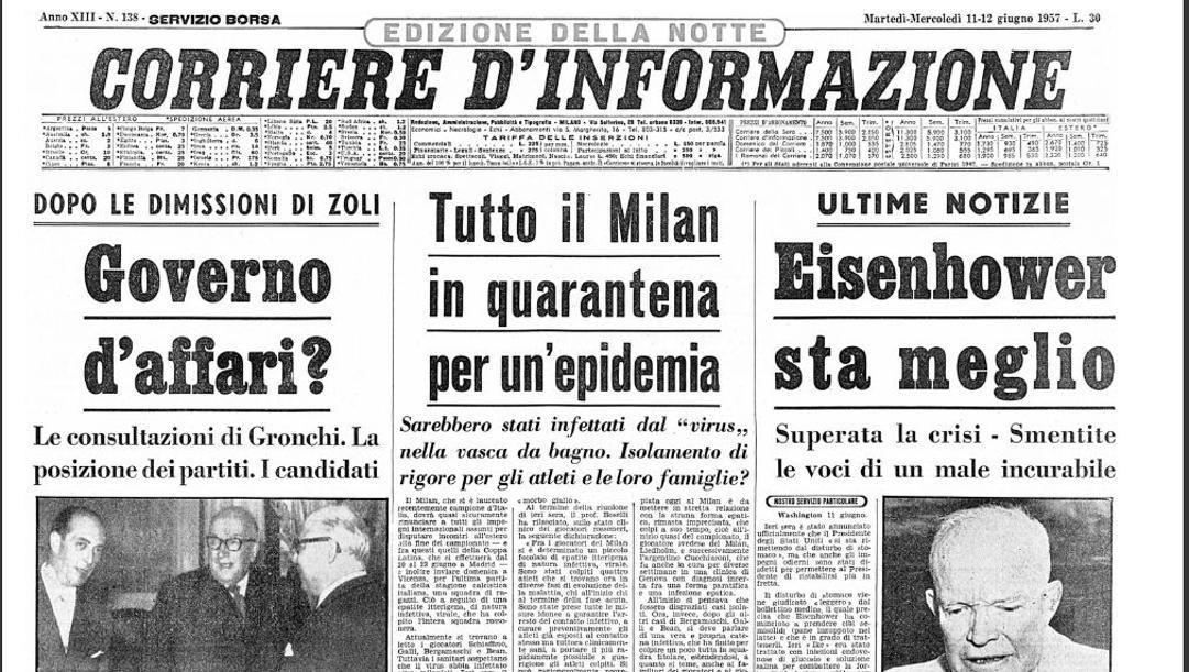 La prima pagina del Corriere di Informazione del 12 giugno 1957