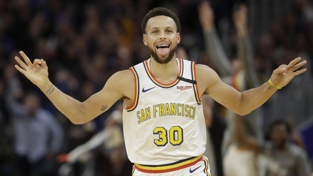 Steph Curry, 31 anni, durante la sfida contro i Toronto Raptors. (Ap)