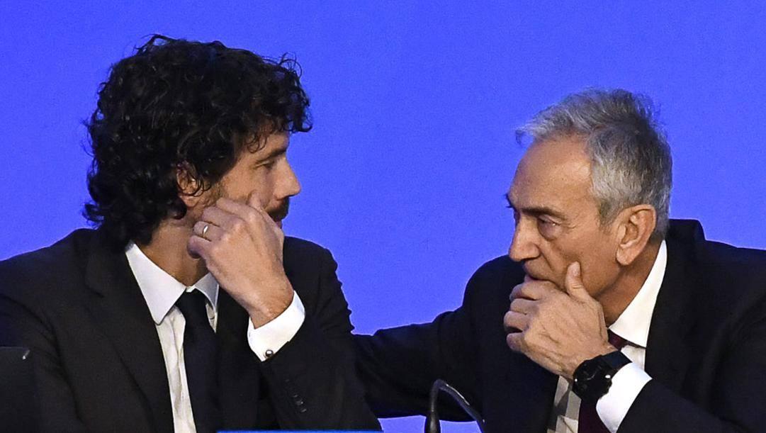 Il presidente Aic Damiano Tommasi e quello della Figc Gabriele Gravina. Ipp