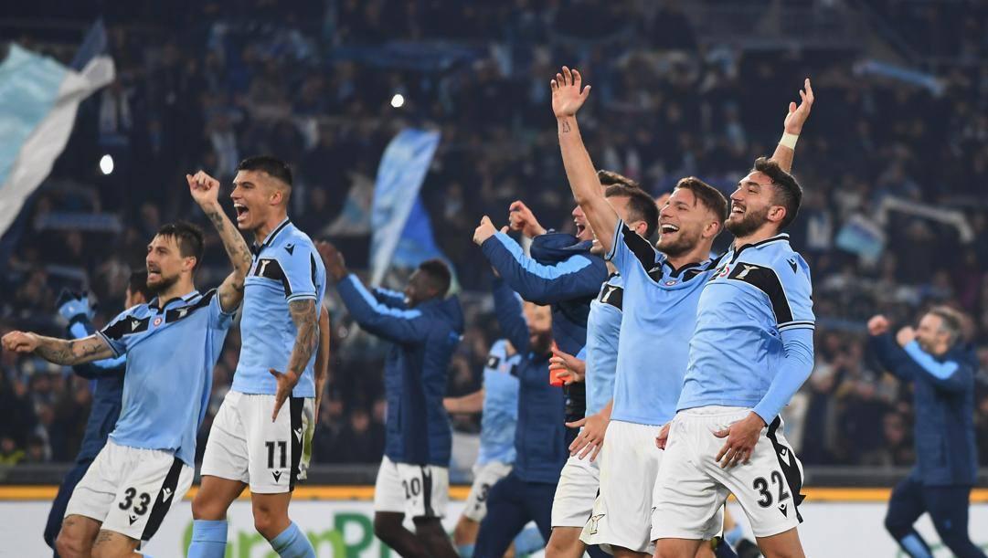 L'esultanza dei giocatori della Lazio. Getty