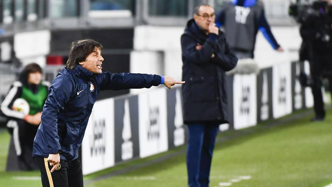 Antonio Conte e Maurizio Sarri. Lapresse