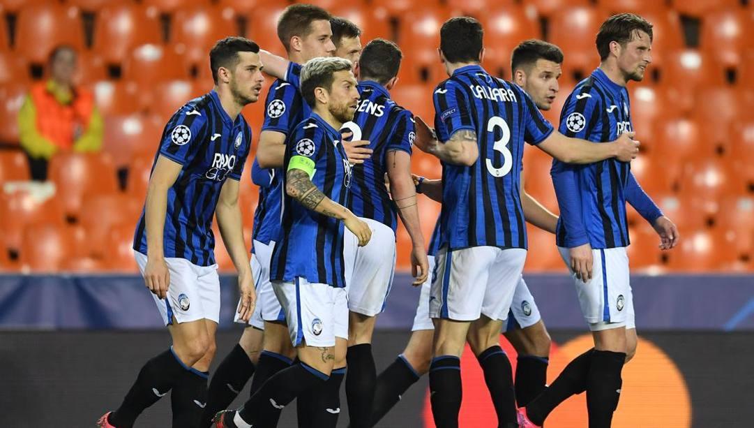 L'Atalanta vincente a Valencia. (Afp)