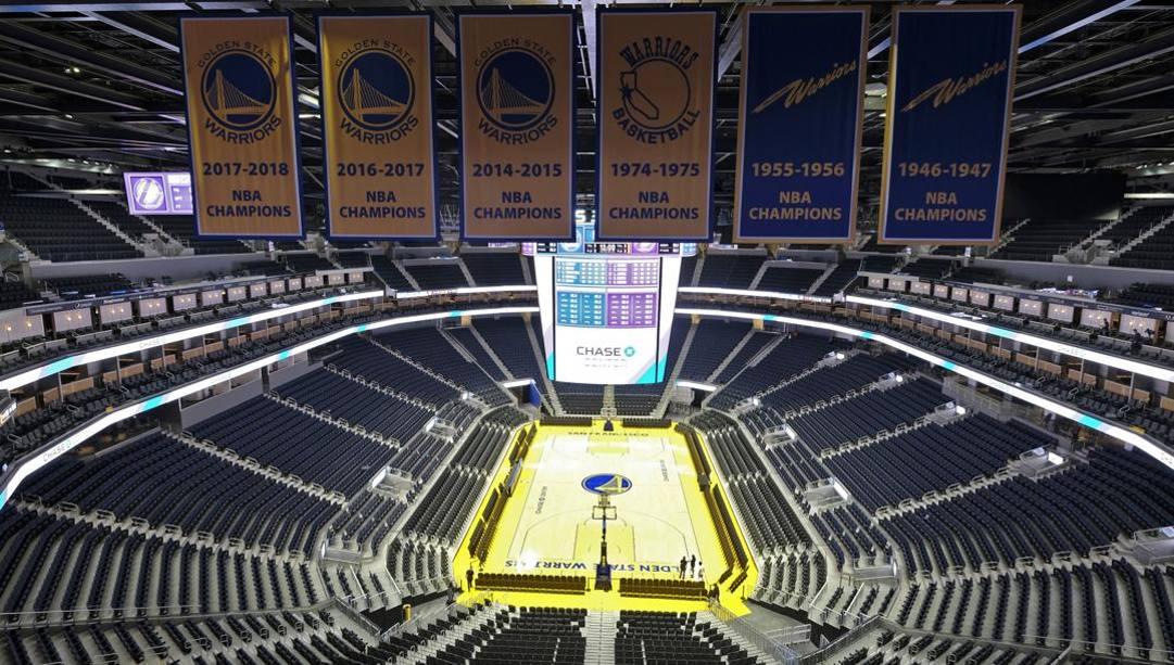 Chase Center, la casa dei Warriors, da oggi è chiusa al pubblico. Ap