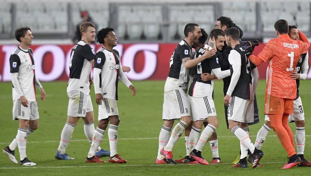 La Juve in festa dopo la vittoria a porte chiuse contro l'Inter. (Getty Images)