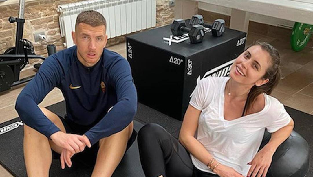 Dzeko con la moglie Amra