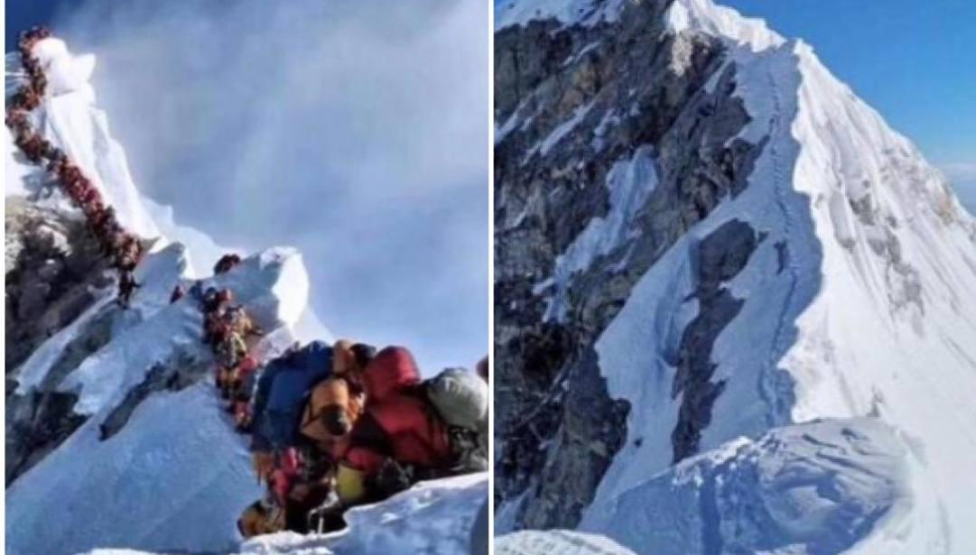 Un anno dopo La cresta finale del versante nepalese dell'Everest intasata nella foto di Nirmal Purja nel 2019 e lo stesso tratto libero come sarà in questi mesi