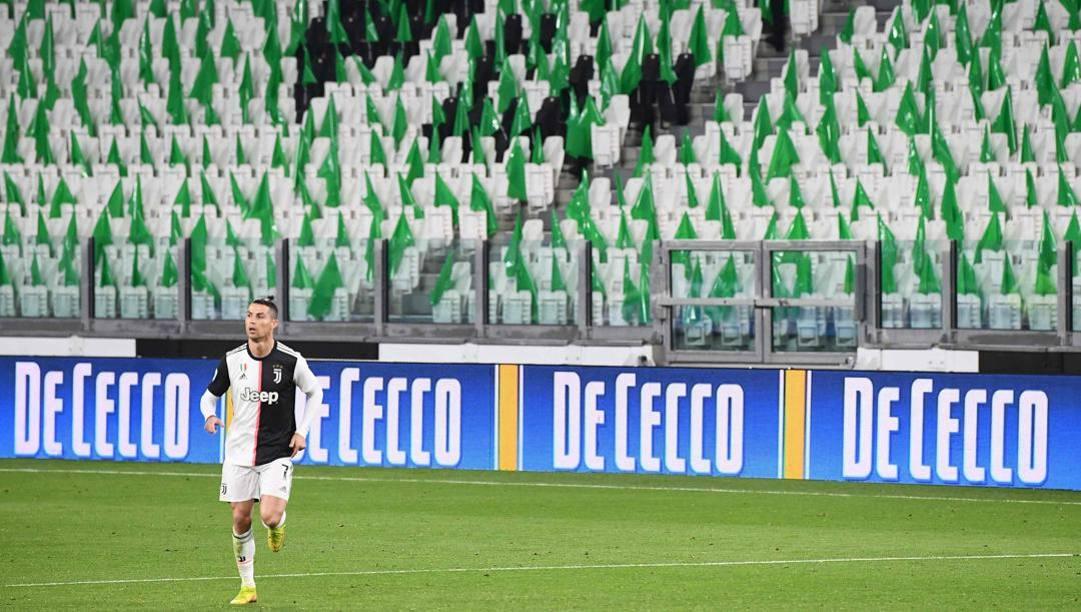 Ronaldo corre nello Stadium vuoto. Afp