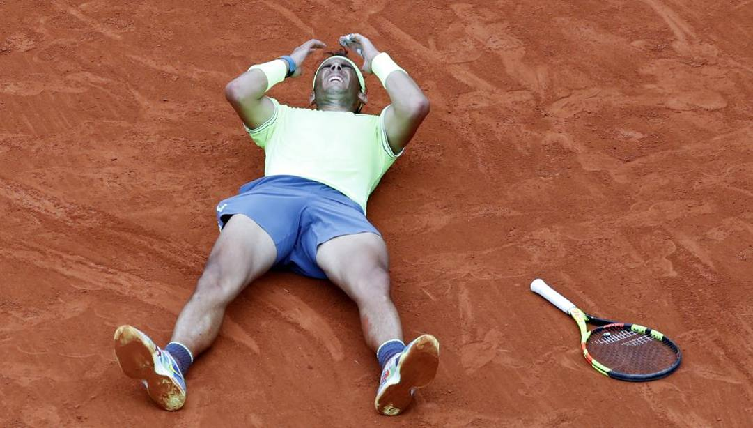 Rafa Nadal dopo l'ultimo trionfo a Parigi, in finale contro Thiem