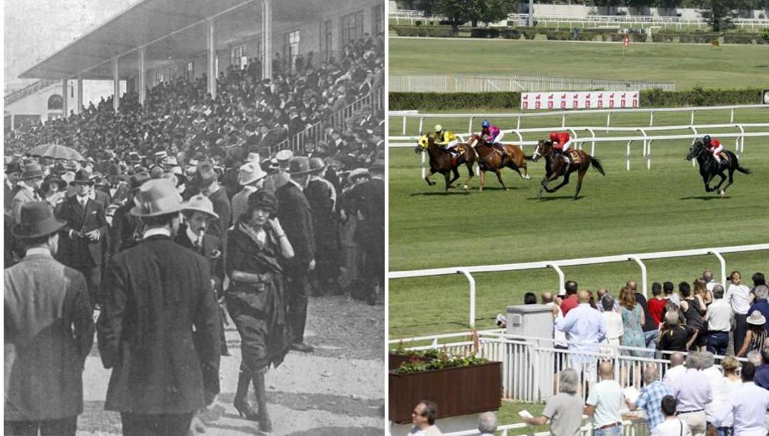 Ieri e oggi, a sinistra, l'inaugurazione di San Siro galoppo il 25 aprile  1920.