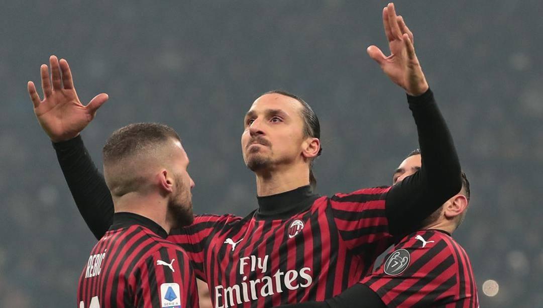 L'esultanza di Ibrahimovic dopo il gol nel derby. Getty