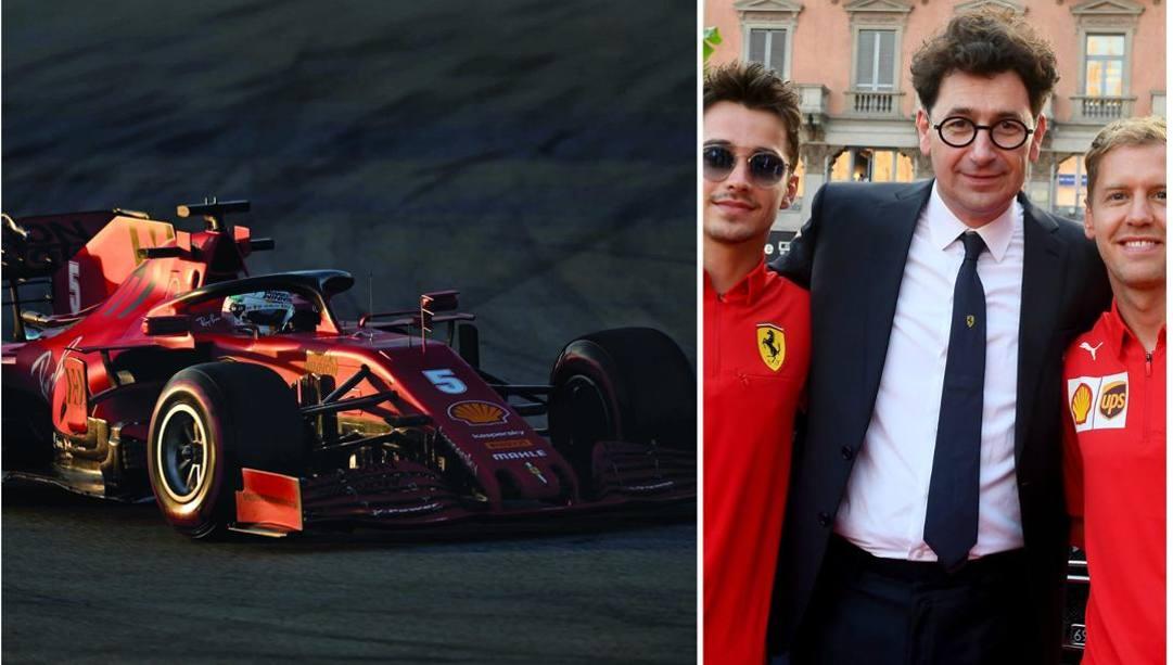 La Ferrari numero 5 di Vettel. A destra, Leclerc, Binotto e Vettel.