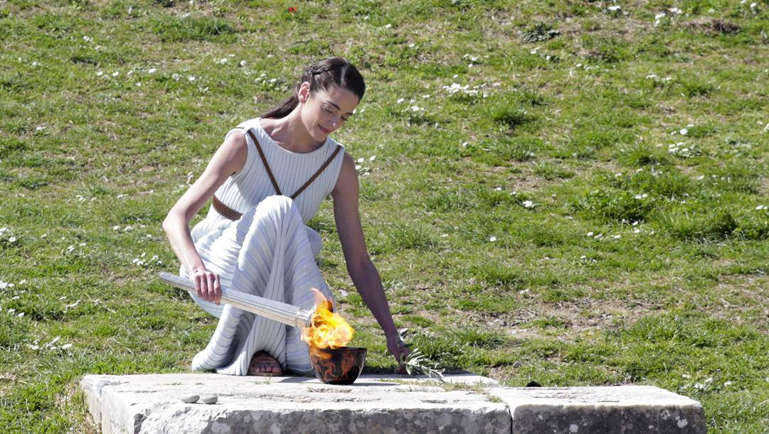 Lo scorso 12 marzo a Olympia è andato in scena il rito dell'accensione della torcia. Getty