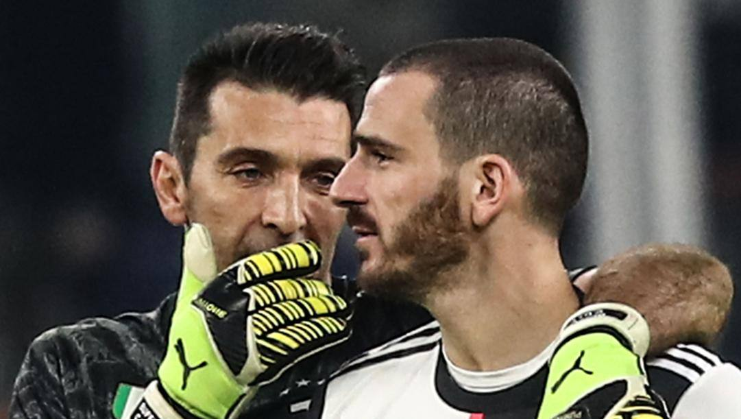 Gianluigi Buffon, 42 anni, e Leonardo Bonucci, 32. Afp