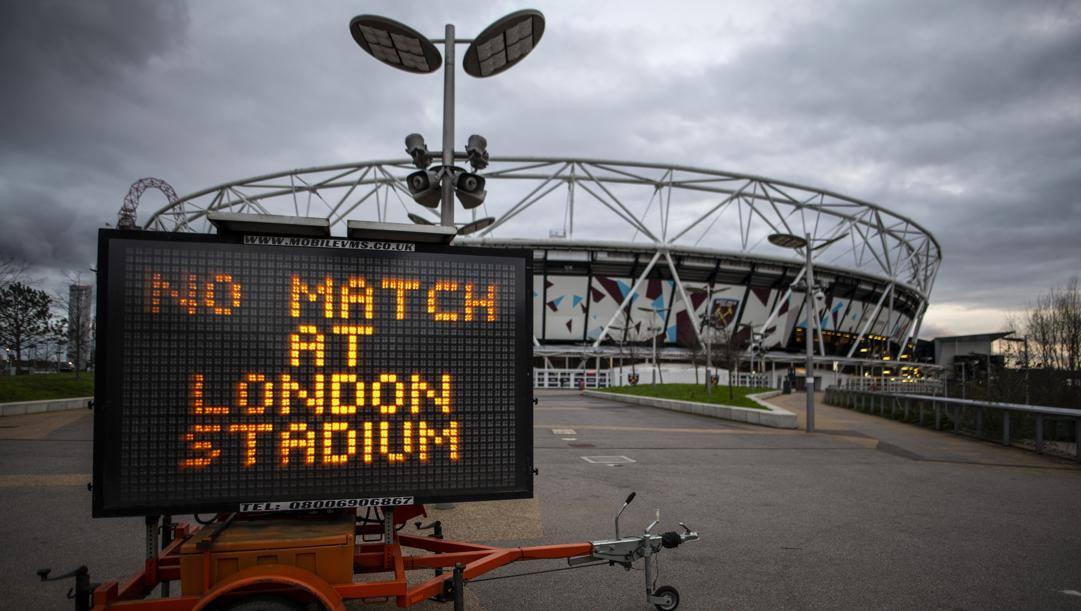 Il London Stadium, casa del West Ham, è chiuso a tempo indeterminato come tutti gli altri impianti inglesi. Getty