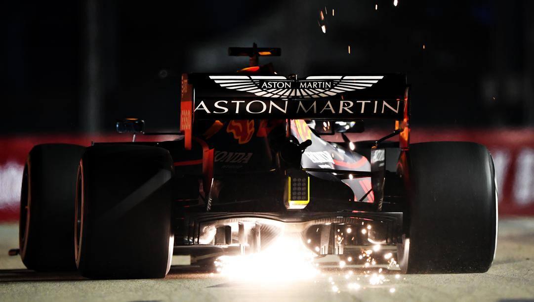 Il marchio Aston Martin sulla Red Bull. La partnership commerciale terminerà con la stagione F.1 2020. Getty