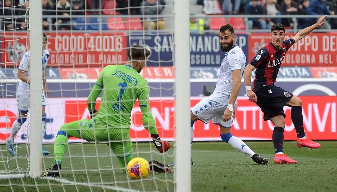 Riccardo Orsolini a segno contro il Brescia. Getty