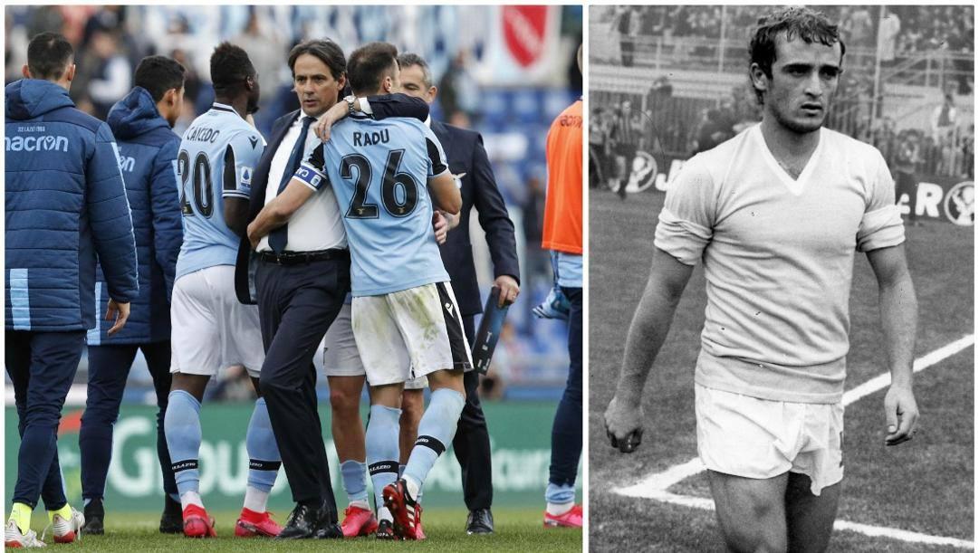 A sinistra, Simone Inzaghi abbraccia i suoi giocatori. A Destra, Vincenzo D'Amico ex bandiera della Lazio.