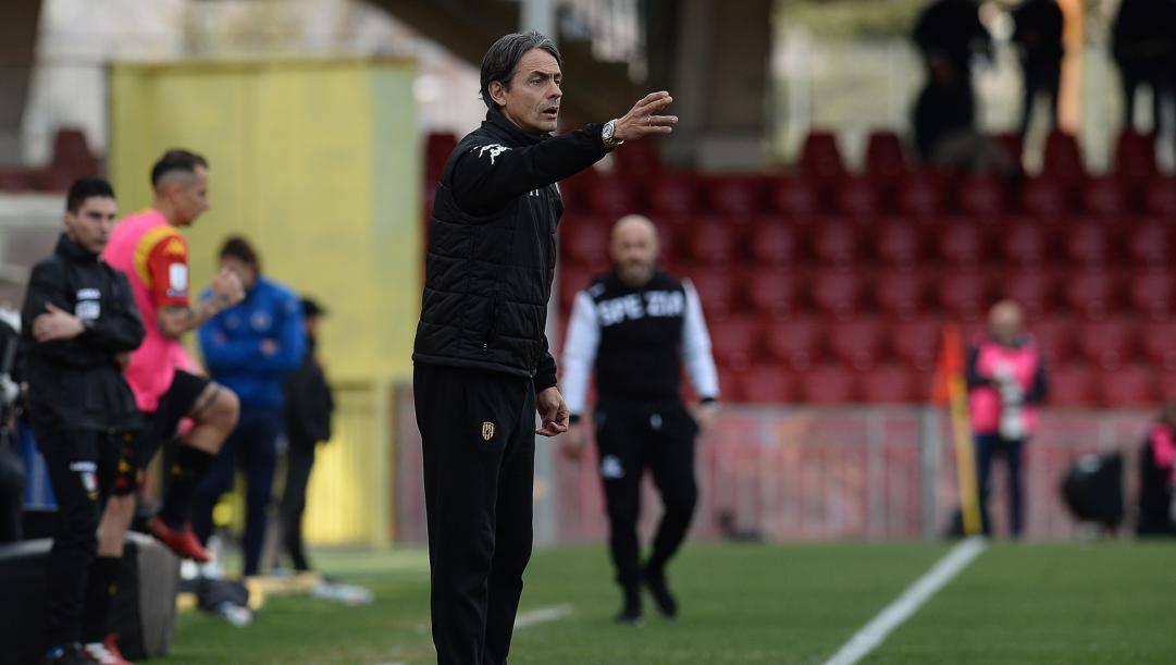 Filippo Inzaghi, tecnico del Benevento capolista con largo vantaggio in B. LaPresse