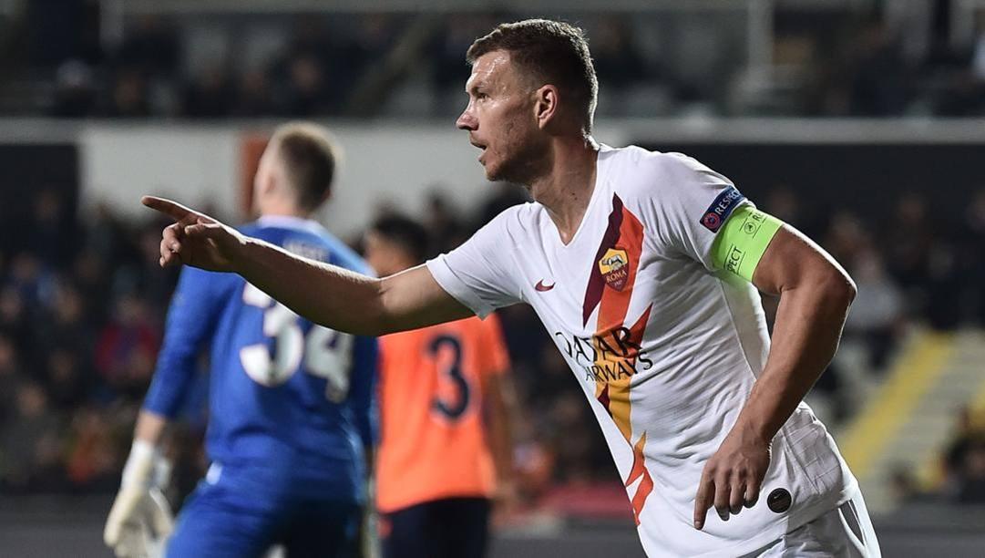 Edin Dzeko, 34 anni, attaccante bosniaco della Roma. Afp
