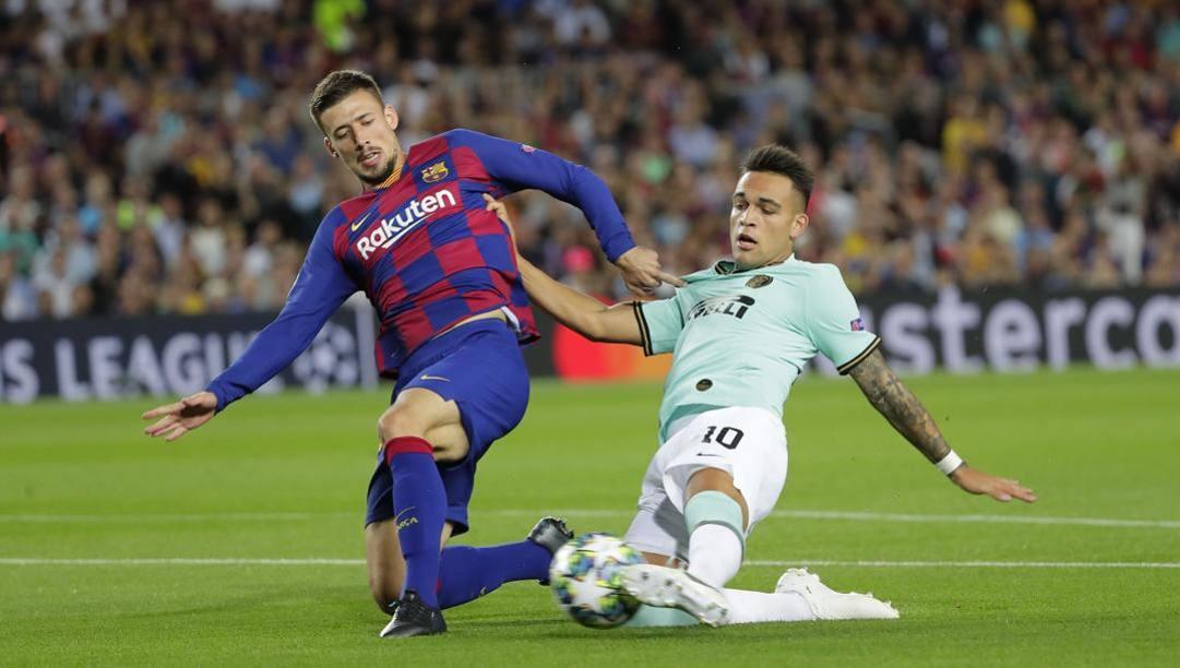 il gol di Lautaro Martinez al Barcellona in Champions League. Ap
