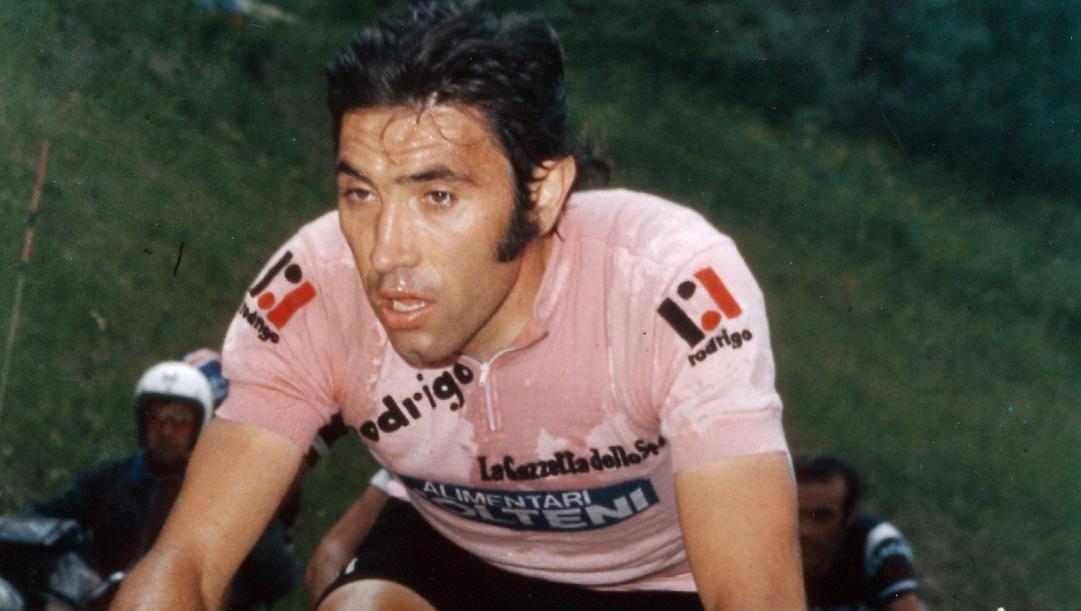 Eddy Merckx in rosa. Il Cannibale ha conquistato 5 volte il Giro e il Tour, più 1 Vuelta
