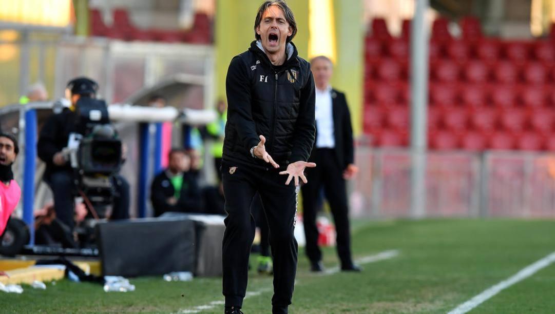 Filippo Inzaghi, dominatore della serie B con il suo Benevento. Lapresse