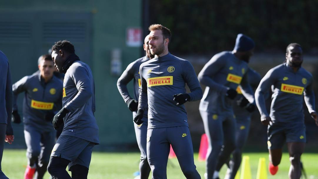 Una sessione di allenamento dell'Inter alla Pinetina