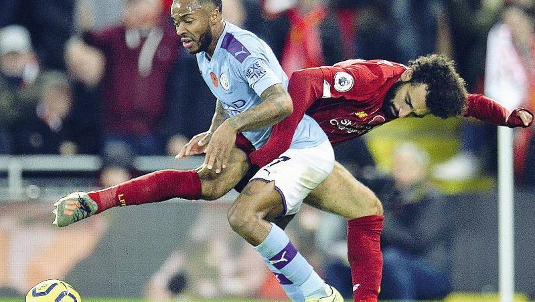 Mohamed Salah del Liverpool e Raheem Sterling del City. Epa