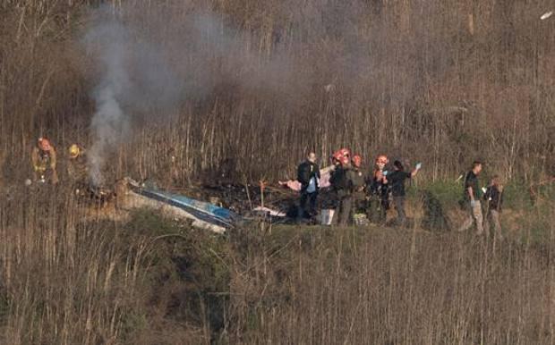 I resti dell'elicottero su cui viaggiavano Kobe Bryant e le altre 8 vittime dell'incidente del 26 gennaio. Afp