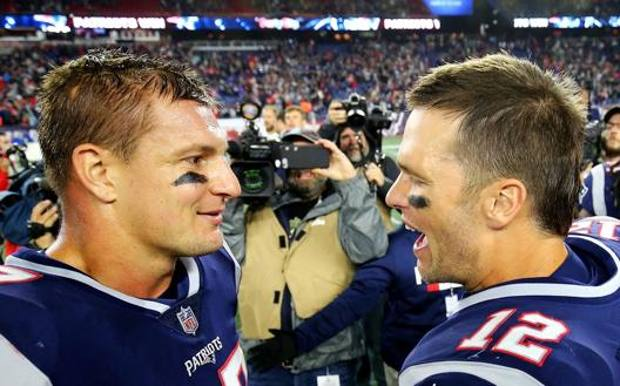 Rob Gronkowski e Tom Brady nel 2018. Getty Images