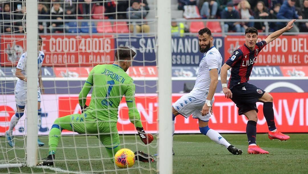 Il gol di Orsolini al Brescia nel girone di ritorno. Getty
